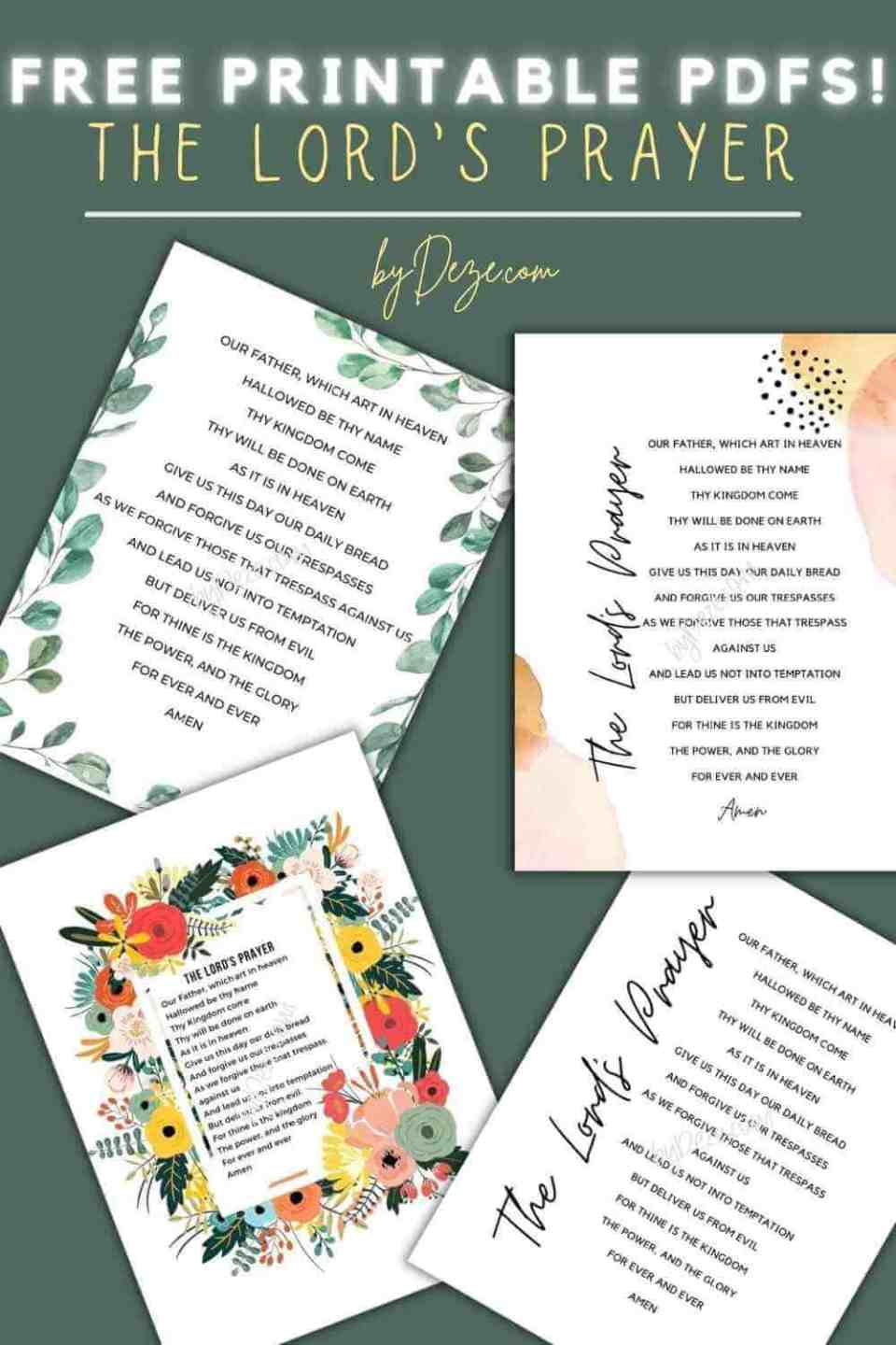 4 free printable PDFs of the Lords prayer