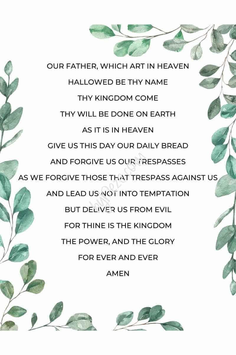 watercolor greenery printable lords prayer