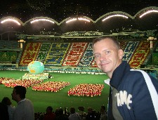 Jon Cramer after the finale of the Mass Games in May DayStadium