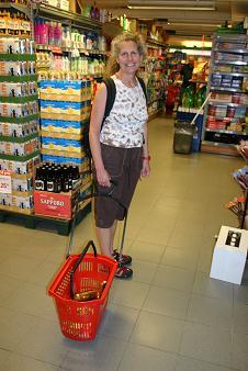 Diane tests shopping basket on wheels