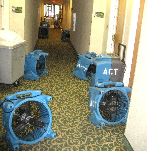 Giant fans and dehumidifiers were used to dry the hallways