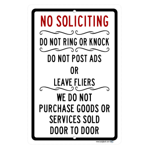 No Soliciting Do Not Ring Or Knock - Keep Salesmen Away - aluminum sign