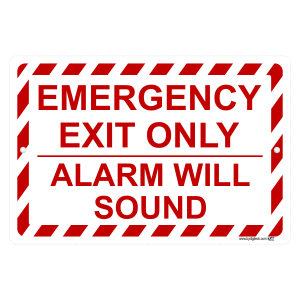 Emergency Exit Only Alarm Will Sound Aluminum Sign