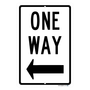 One Way With Left Arrow Aluminum Sign Street And Safety Sign