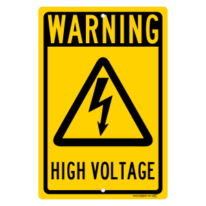 Warning High Voltage Yellow Sign Aluminum Sign