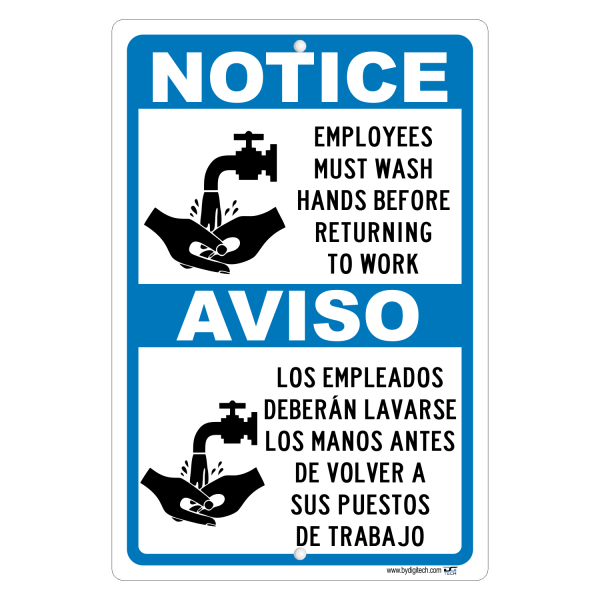 Notice Employees Must Wash Hands Before Returning To Work Spanish Also