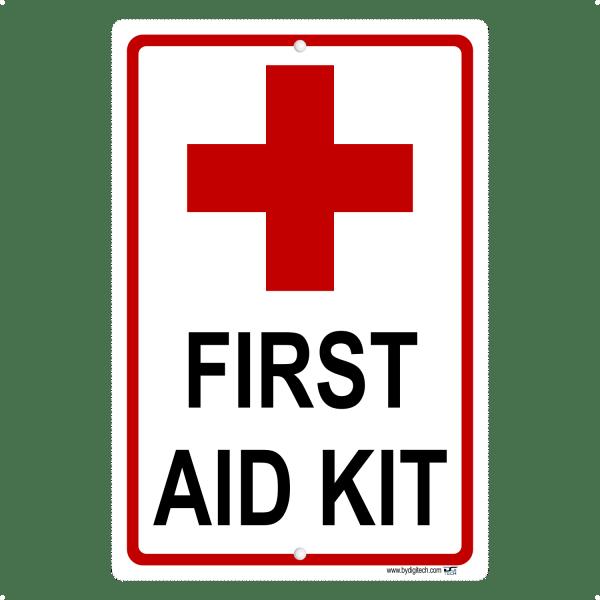 First Aid Kit Symbol Aluminum Sign