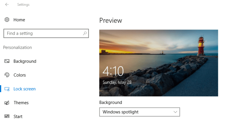 Spotlight Settings Windows 10