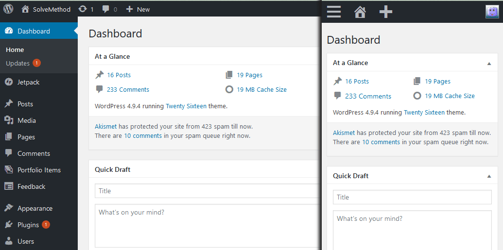 WordPress Dashboard in PC and Mobile