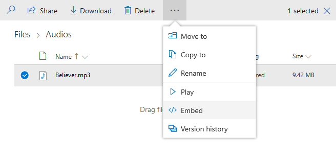 Get OneDrive Embed Link Top Bar