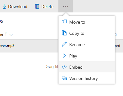 Get OneDrive File Embed Link