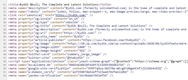Yoast SEO Meta Tags at Bydik