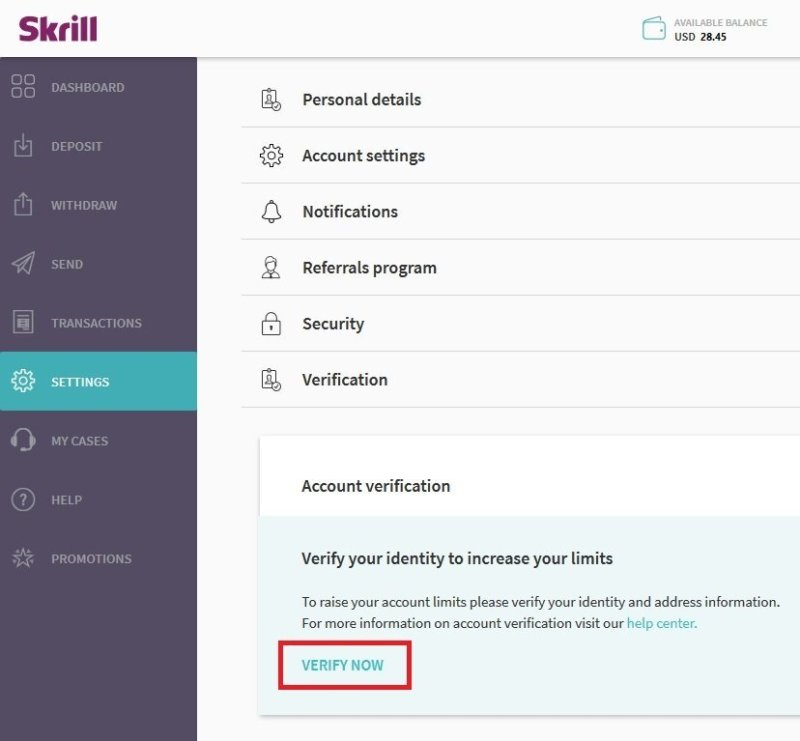 Skrill Settings Verification Link