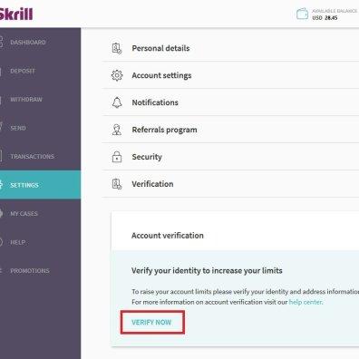 Skrill ID Verification Link Settings