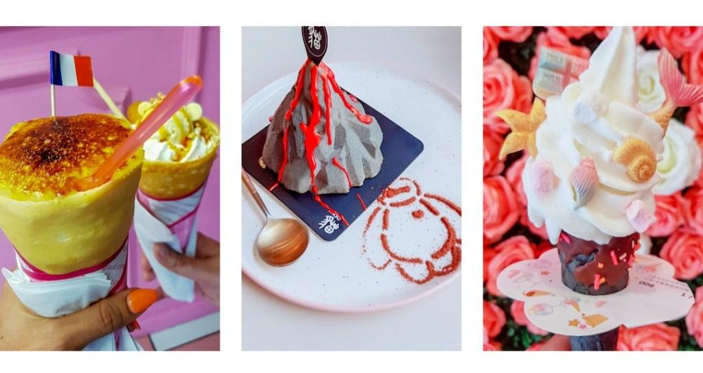 Une crêpe en cône, une glace décorée, une pâtisserie en forme de volcan provenant de 3 adresses sucrées de Paris