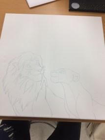 Et stort maleri med Simba og Nala