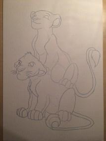 Et akvarel med Simba og Nala som børn