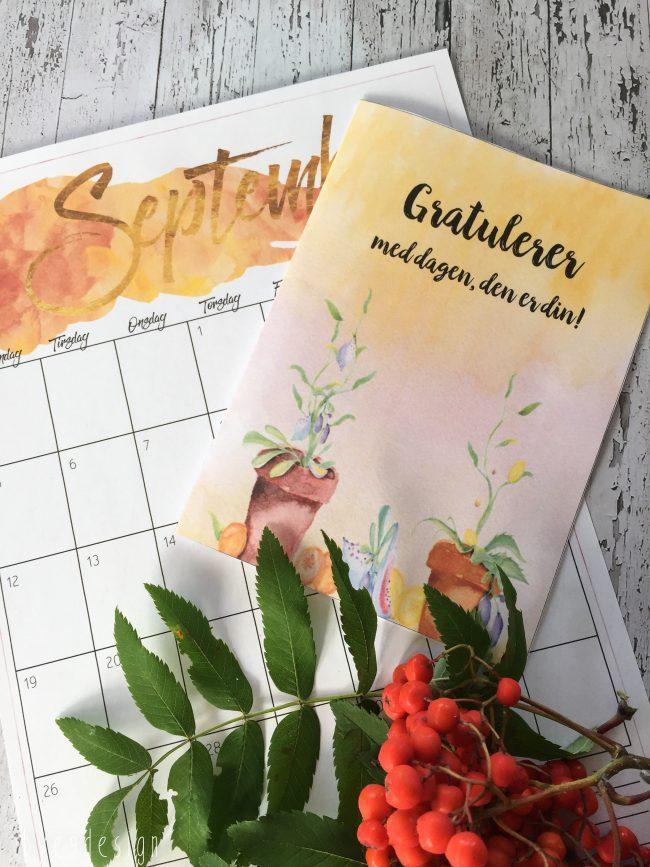 gratis kalender 2016 - free printable - bursdagskort høst print bye9design