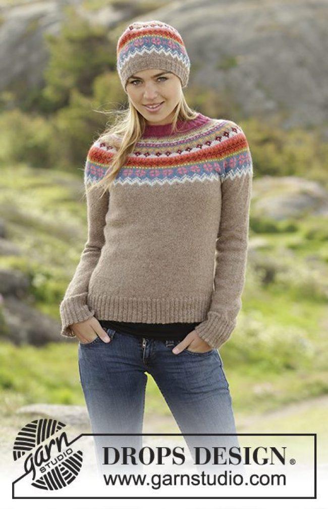 Høstlige farger strikketøy