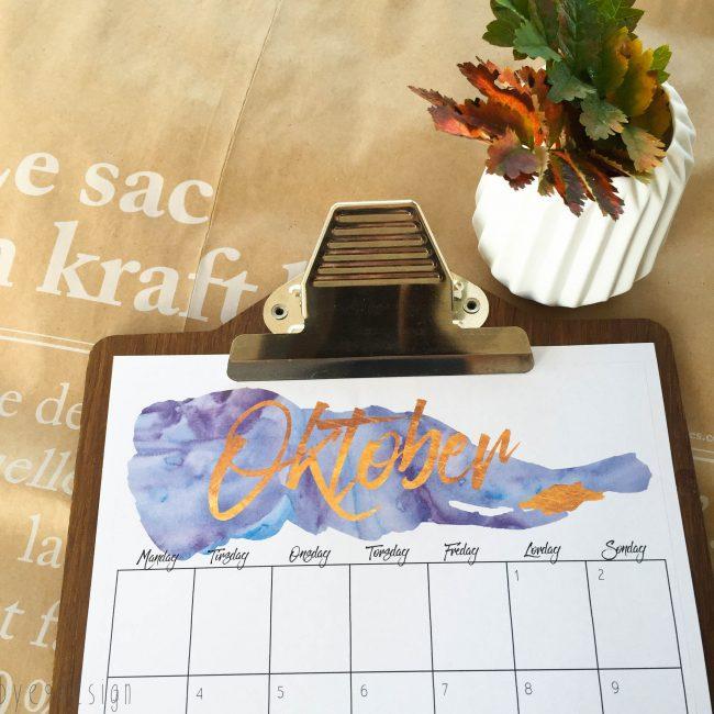 Jeg har dilla på vannfarger og slik ble oktober kalenderen