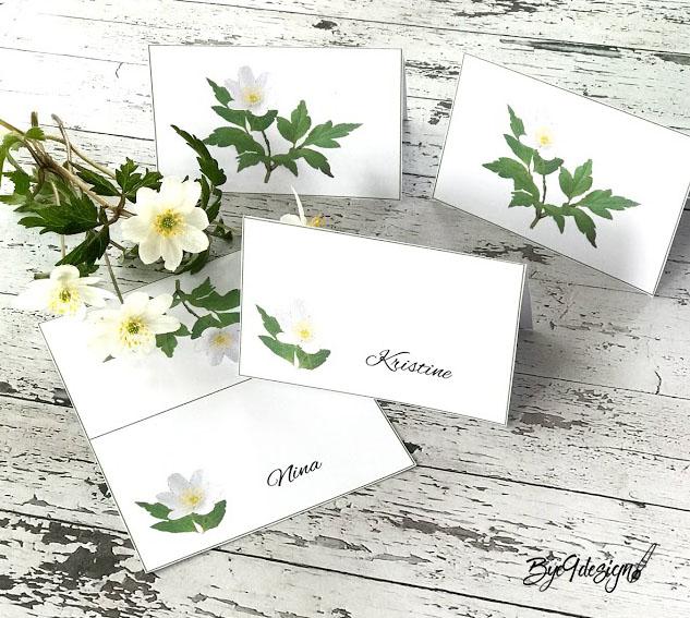Bordkort med hvitveis til vårens festbord, konfirmasjon og 17.mai