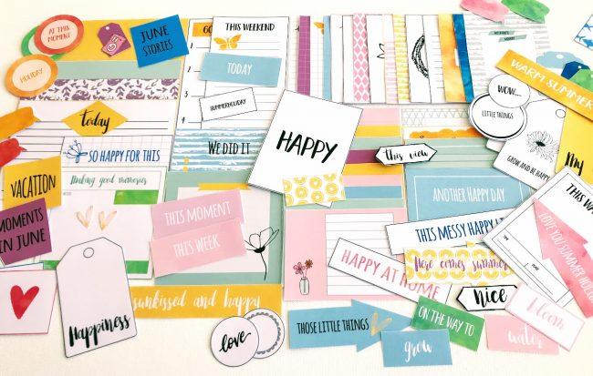 """""""Happy"""" - fotoalbum og scrapping kit - månedens tema i juni"""