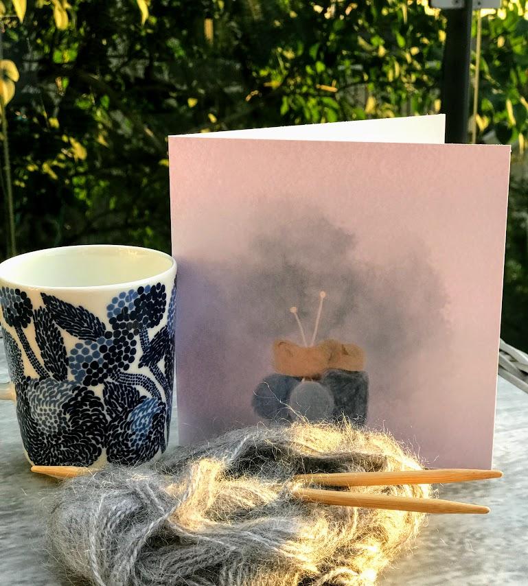 Dilla på strikking - gi bort et kort med strikkemotiv
