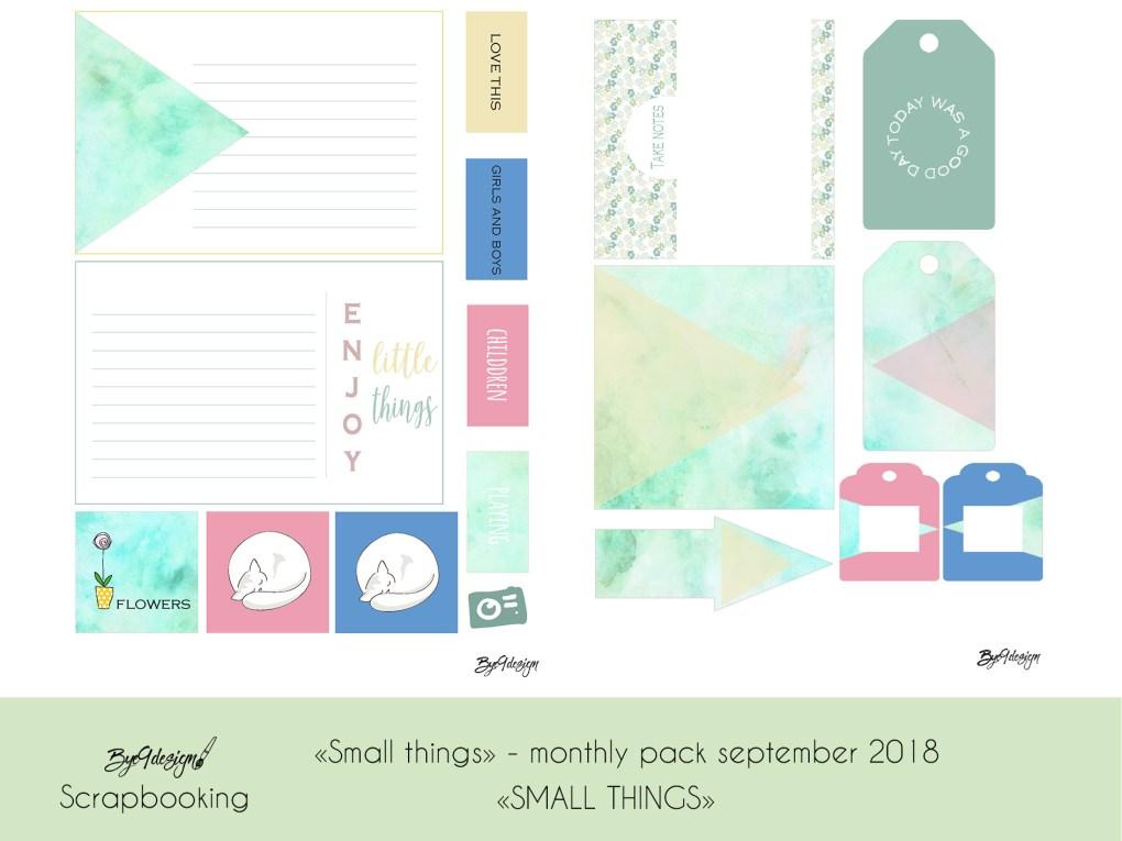 """Duse farger og """"small things"""" i scrappepakken for september"""