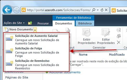 Como Utilizar Vários Templates de Documentos em Uma Biblioteca de Documentos (1/6)