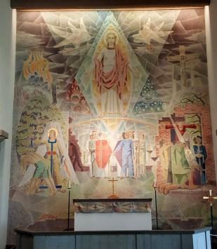 """Kormålningen """"Den återvändande Kristus. Besiktningsbild, Bibi Pålenäs."""