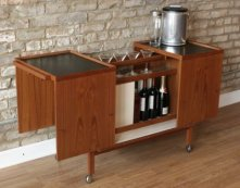 Bar carts not only add a retro feel, but give actors something to play with