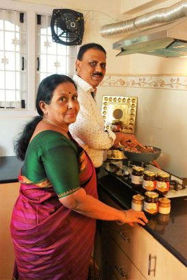Me with my mother in our kitchen.