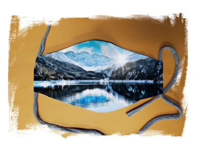 Snowy Mountains Face Mask