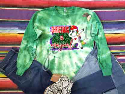 Magical Christmas Unicorn Green Tie Dye Long Sleeve Tee