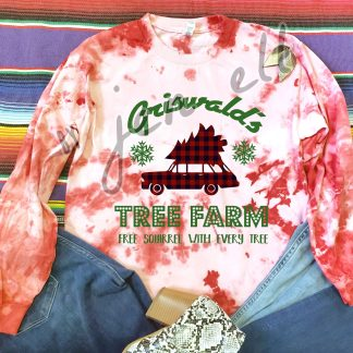 Griswald Tree Farm Red Tie Dye Tee
