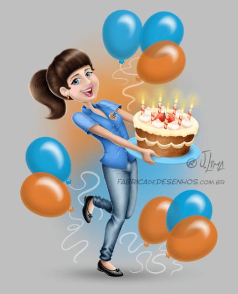 bolo aniversário parabéns conceito de arte cake birthday congratulations concept art arte design mascote personagem mascote character 3d cartão post girl woman mulher menina uniforme desenho ilustração illustration jlima