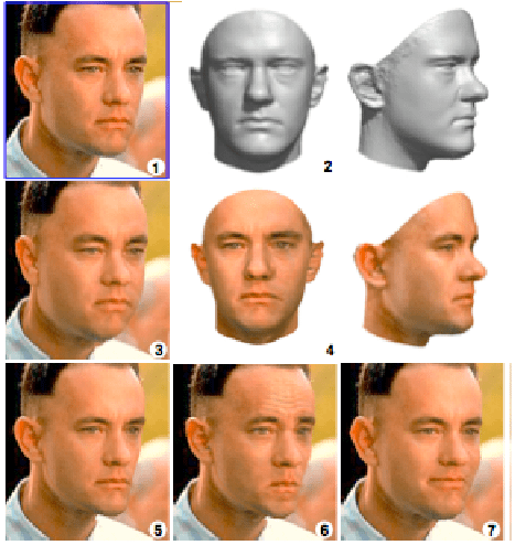 9 images showing various techniques on a model derived interactively from a single photo