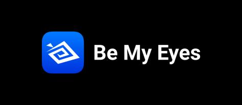 Be My Eyes logo on black background