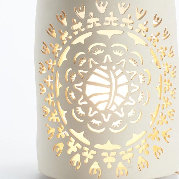Photophore en céramique blanche ajouré - Motif Rosace Fortuny - By Manet