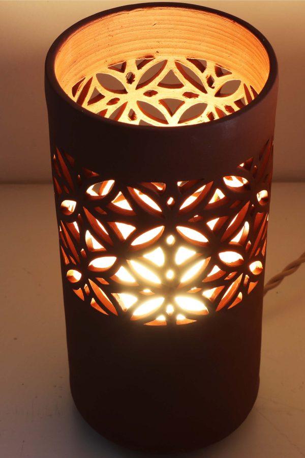 lampe ajourée Sospiri bandeau petit modèle grès rouge