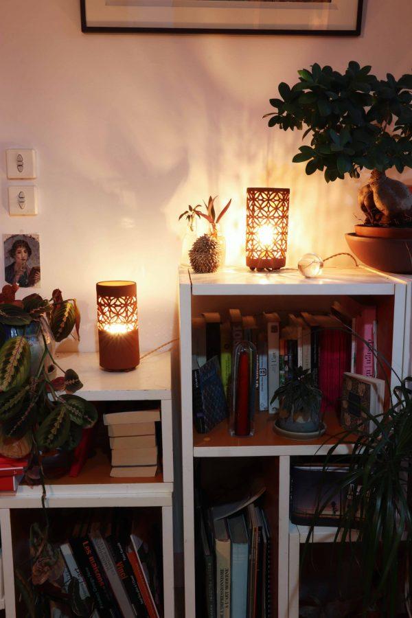 lampes ajourées Sospiri petit modèle grès rouge