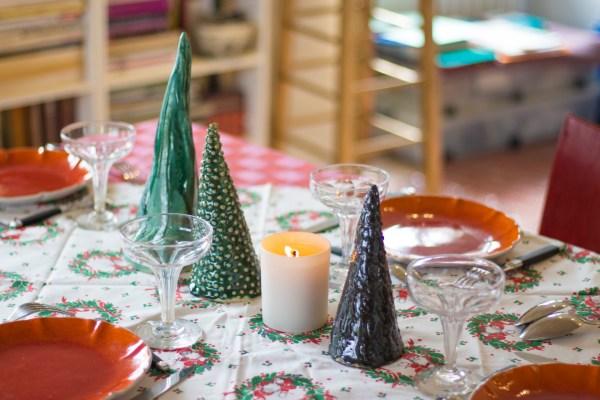 sapin en céramique artisanale pour décorer centre de table de Noël