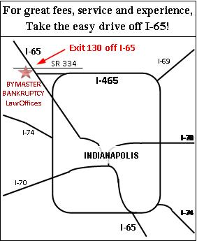 Map to Indianapolis Bankruptcy Lawyer Office
