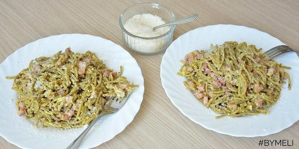 Spaghetti alla carbonara da spaghetti di quinoa