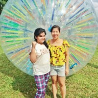 zorbing with Crabby