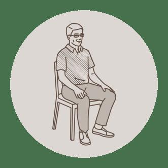man meditating in chair, illustration