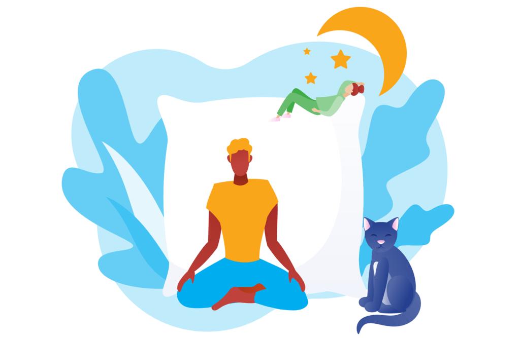 Meditation calms the busy mind.