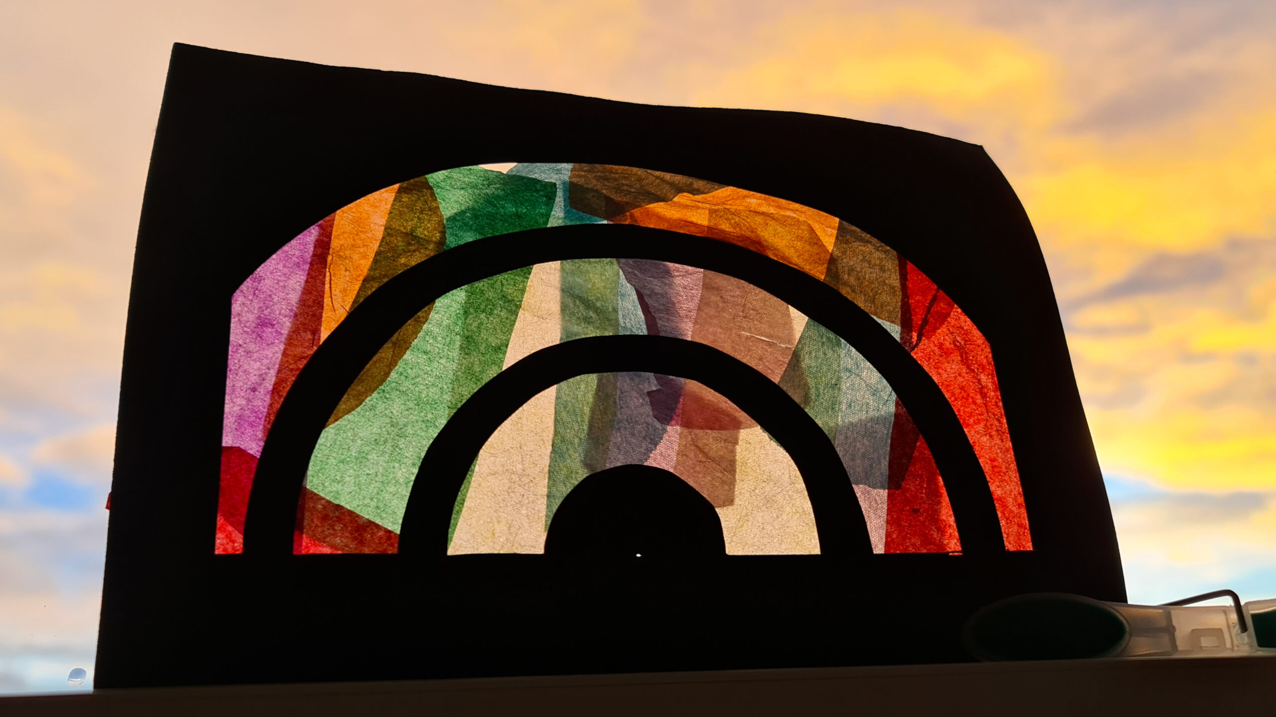 Stained glass rainbows (and DIY compass for drawing circles)