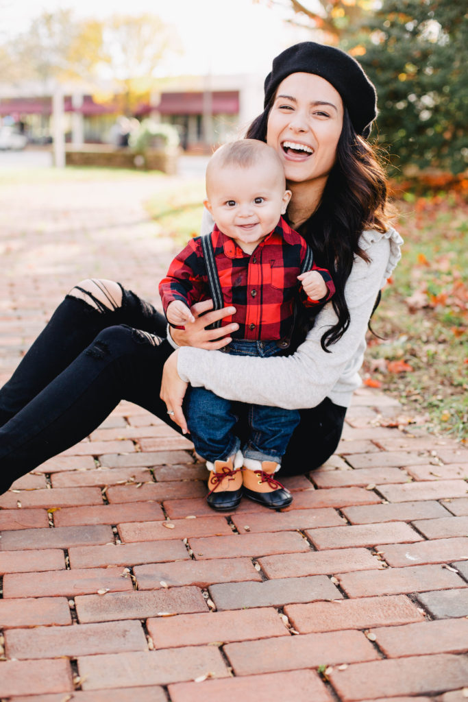 Image of Buffalo Plaid Baby Outfit + Ruffle Sleeve Sweater