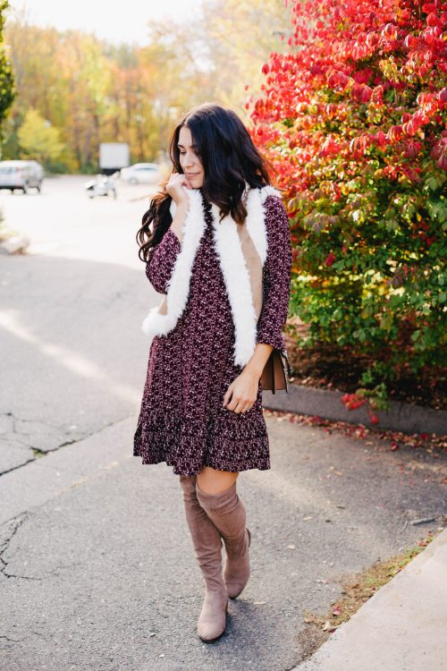 Thanksgiving Outfit Idea: Shearling Vest + Cranberry Dress